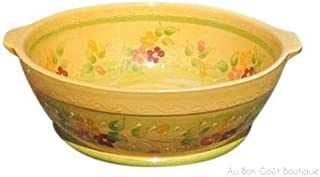 Souleo, Terre è Provence, Extra Large Round French Provence 'Tian' - Casserole/Baker/Serving Bowl, 13.75 Inch Diameter, Im...