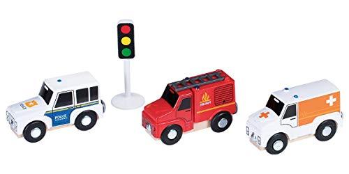 Playtive Junior Fahrzeugset Einsatzfahrzeuge Polizei Feuerwehr Krankenwagen Ampel
