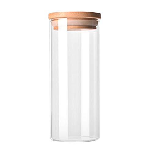 Sagladiolus Botella de cristal transparente de borosilicato para cocina, para guardar alimentos, dulces, galletas, transparente y beige, 6,5 x 15 cm
