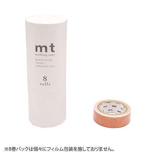 mt マスキングテープ 8P ボーダー&サークル・オレンジ MT08D436