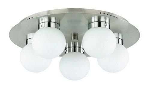 LED Deckenlampe Kugel Kugellampe 40 cm 5x4W 2700k hell nickel matt/Glas weiß Deckenleuchte