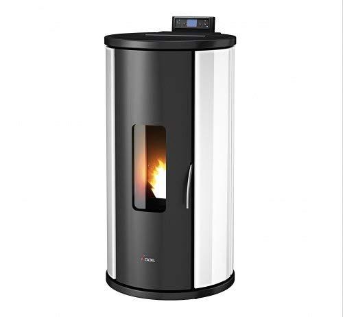 CADEL Sweet Pelletofen 6,5 kW Pellet Ofen Sfera-Glas-Weiss
