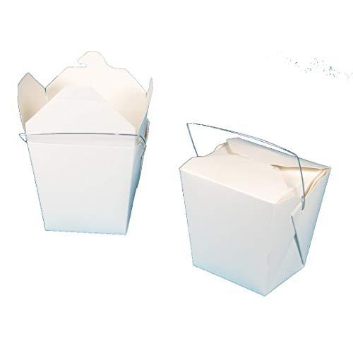 500-1000 Foodboxen Snackbox Asiabox Nudelbox Pastabox Cakebox eckig weiß mit Henkel verschiedene Größen gemäß Auswahl (32oz/1000ml 500St)