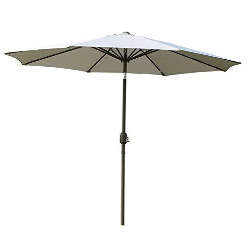 Sombrilla de jardín de 270 cm Sombrilla Exterior para Patio Toldo Impermeable Protección UV Accesorios de sombrilla de Verano, Manivela/Inclinación (Gris)
