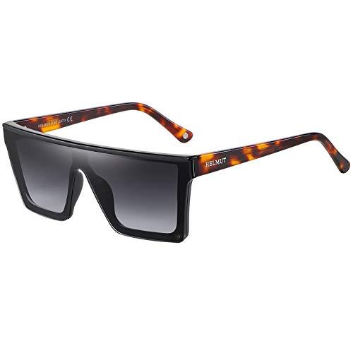 H HELMUT JUST Gafas de Sol Hombre Mujer Grandes Cuadrado Superficie Plana Una Pieza Espejo Lente Protección UV400
