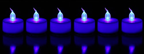 Flameless Candles Lights LED Tealights Battery Operated For Wedding Birthday Parties Decorations - Batteries Included Set of 6 - (Blue) Great Mother's Day Gift