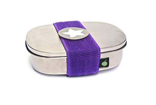 kjomizo Box mit TRENNSTEG Edelstahl Brotdose do Dotty mit Klettmotiv zum Individualisieren für Kindergarten und Schule I LILA
