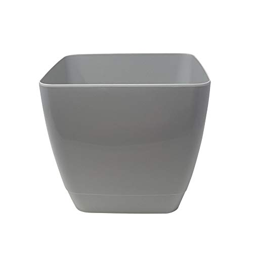 4 x Thick Sturdy Indoor Outdoor Square Porch Patio Conservatory Garden Flower Herb Plant Pot Holder Cool Grey BPA Free 9'