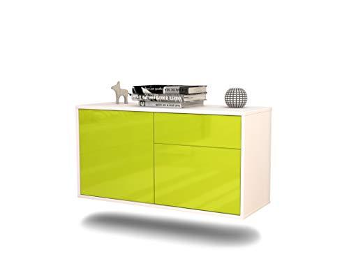 Lowboard San José hangend (92 x 47 x 35 cm) corpus wit mat | front hoogglans design | Push-to-Open | hoogwaardige lichtlopende rails modern groen