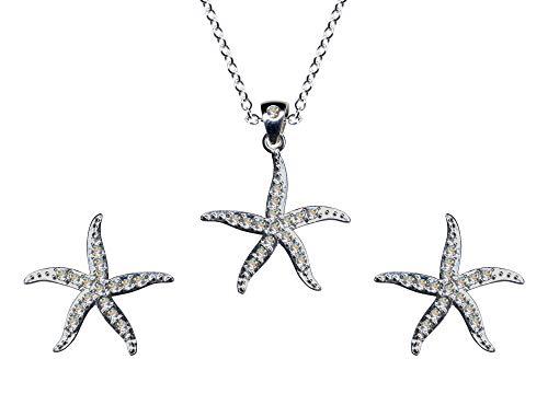 Juego de joyas de plata de ley 925, pendientes + cadena + colgante, estrella de mar, collar, cadena colgante de plata, colgante, pendientes de circonita, color blanco claro