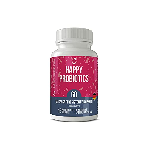 Happy Probiotics - Probiotika in Deutschland hergestellt - 12 probiotische Kulturen extra optimal dosiert - 1 Packung