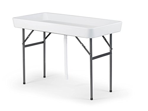 Old Cedar Outfitters Fill N Chill Folding Table for Parties or Catering Events, Open Top Cooler Table with Drain, 47.5' x 23.6' x 32.3', White/Deep