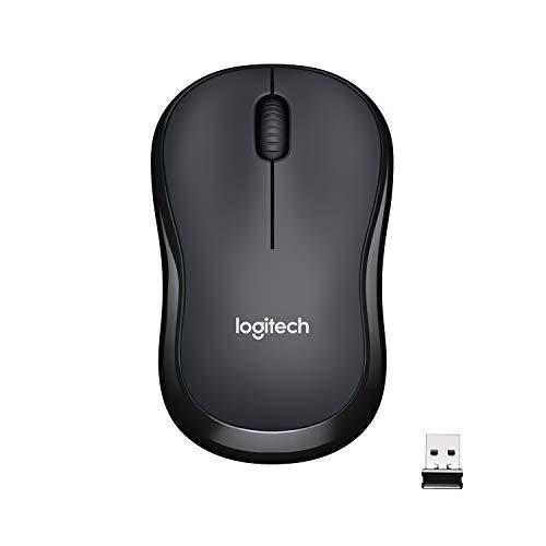 Logitech M220 Silent Kabellose Maus, 2.4 GHz Verbindung via Nano-USB-Empfänger, 1000 DPI Sensor, Quiet-Mark Zertifiziert, 18-Monate Akkulaufzeit, Für Links- und Rechtshänder, PC/Mac - Schwarz
