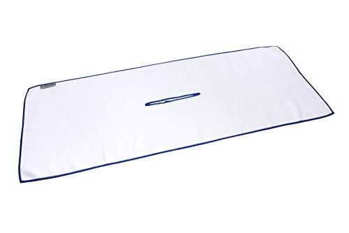 Center Cut Microfiber Golf Towel 16'x40' (White w/ Blue Edge)