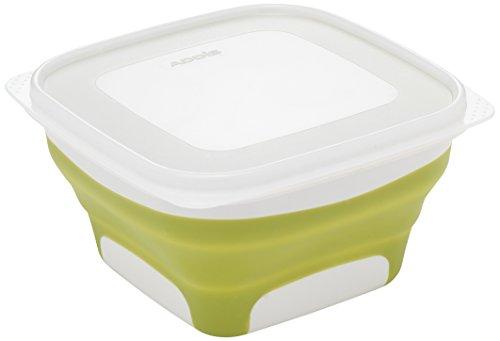 Addis Pop & Faltbare Fresh Food Container, groß, quadratisch, 1Liter, grün & weiß