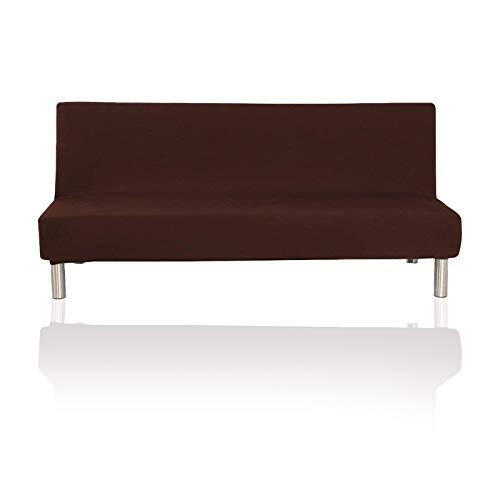 YuuHeeER 1 funda plegable para sofá cama de futón sin brazos, color sólido, tela elástica de poliéster, color café