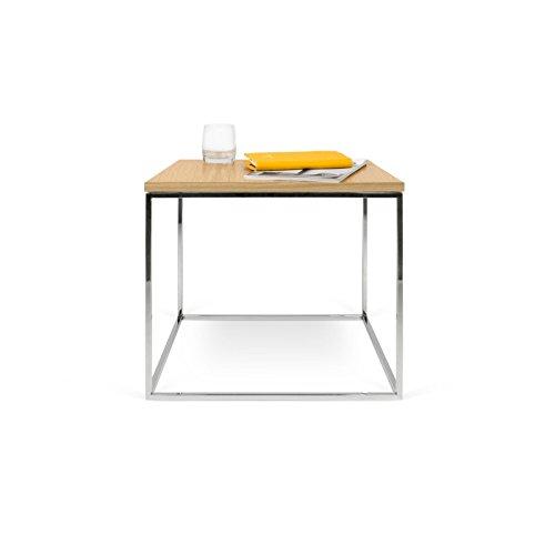 Paris Prix - Temahome - Table D'appoint Gleam 50cm Chêne & Métal Chromé