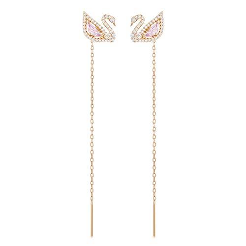 Swarovski Pendientes Swan, baño en tono oro rosa, cristal multicolor,