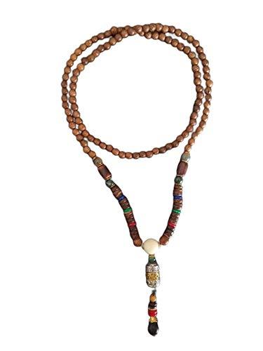 EXINOX Collar Budista Largo con Cuentas de Madera | Etnico Buda | Mujer | (Mantra)