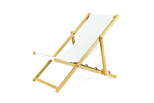 BAS Liegestuhl aus Holz klappbar Klappliegestuhl Strandstuhl Holzklappstuhl Sonnenstuhl Gartenliege Sonnenliege (2, Weiß)