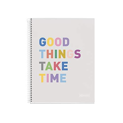 Miquelrius - Cuaderno Libreta Notebook - Tapa Dura Cartón Forrado, A4, 4 Franjas de Colores, 140 Hojas Cuadriculadas de 70 Gramos, 4 Taladros, Diseño Hello