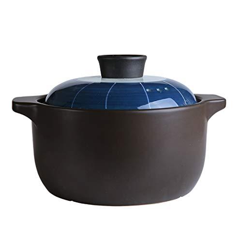 Topf Keramik Auflauf Haushalt Binauralen Deckel Kochtopf Retro Hochtemperatur Keramik Suppentopf Eintopf Auflauf Mini Topf (Color : Blue, Size : 21.7cm*13.6cm)