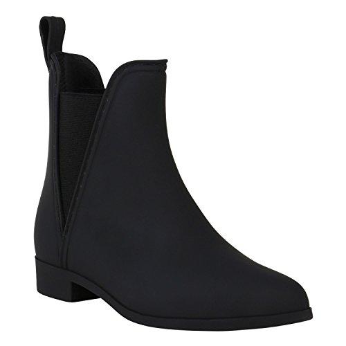 Gummistiefel Damen Stiefeletten Chelsea Boots Regen Schuhe 150383 Schwarz Avelar 39 Flandell