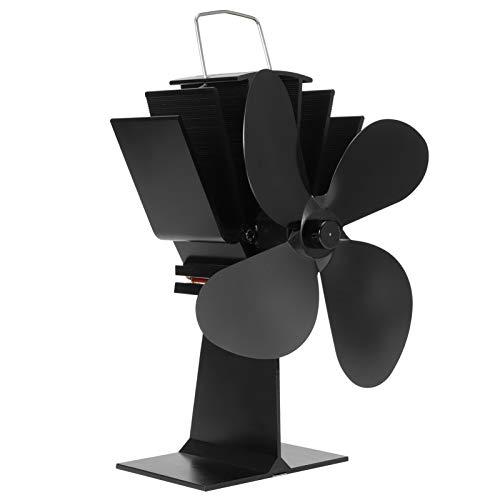 Nunafey Ventilador de Estufa de Calor Seguro, Ventilador de Chimenea, 4 aspas...