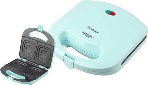 Bastilipo SW-780-V Sandwichera eléctrica para 2 sándwiches SW-780V con Molde Cuadrado, 780 W, Aluminio, Plástico, Verde Agua