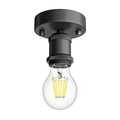 ledscom.de Enchufe de la lámpara E27 de época RETRA, negro, redondo, 100mm incl. bombilla E27 800lm blanco cálido