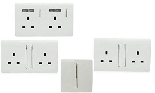 Trendi Switch - Juego de interruptores, enchufes para jardín o terraza, color blanco