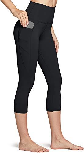 TSLA High Waist Yoga Pants with Pockets, Tummy Control Yoga Leggings, Non See-Through 4 Way Stretch Workout Running Tights, Capris Pocket Peachy(fac34) - Black, X-Small