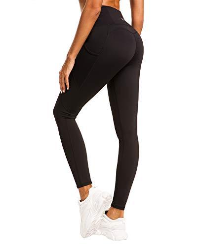 QUEENIEKE Damen Yoga Leggings Mesh Mittlere Taille 3 Handytasche Gym Laufhose Farbe Schwarz Größe L(12
