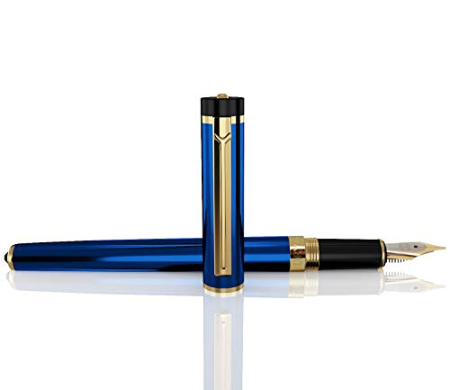 DRYDEN Luxury Fountain Pen with Ink Refill Converter - Smooth & Elegant, Perfect Gift Set for Calligraphy Writing, Signature, Journal, Artist and Professionals [MYSTERIOUS BLUE]