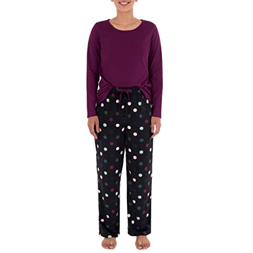 Fruit of the Loom Women's Sueded Jersey Crew Top and Fleece Pant Sleep Set, Royal Berry/Multi Dots, Medium