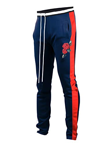SCREENSHOTBRAND-P11853 Mens Hip Hop Premium Slim Fit Track Pants - Athletic Jogger Rose Embroidery Bottom with Taping-NV/RD-Large