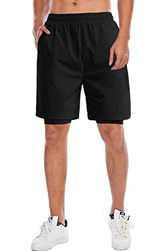 Yidarton, pantaloncini sportivi da uomo, estivi, corsa, palestra, ad asciugatura rapida, traspiranti, con tasche 740-nero M