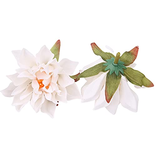 YUANMAO 10Pcs/Set Faux Silk Flower Head Vivid Delicate Dahlia Chrysanthemum Head for Wedding White