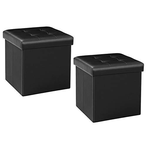 Bonlife Reposapiés, baúl, caja de almacenamiento con tapa, puf, taburete, plegable, con espacio de almacenamiento, organizador de cama, color negro