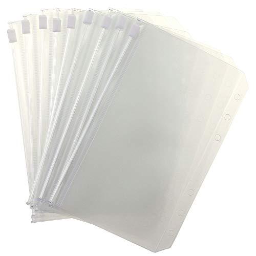 12 pcs A5 Size Translucent Plastic PVC Binder Pockets Envelope Case, Waterproof Binder Zipper Folders for 6-Ring Notebook Loose Leaf Binder, Zipper Envelope Binder Pocket,Document Filing Bags,A5