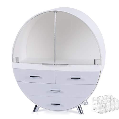 VOOADA 13.4''x15.7'' Makeup Organizer Large Capacity Waterproof and Dustproof Cosmetic Display Cases Desktop Beauty Storage Drawer Lipstick Skin Care Shelf (L, Gray)