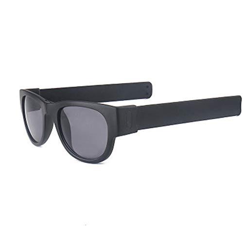 P-WEIAN Sonnenbrille, Kreis, Auge, Spiegel, Frosch, Klaps, Armband, Sport, Sonnenbrille, schwarzer Rahmen, Schwarze Beine