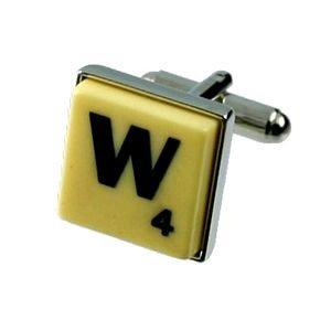 English Gems boutons de manchette Lettre W x2 avec étui Noir