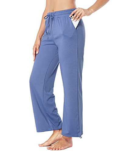 Fulbelle Wide Leg Pants for Women, Elastic Waist Sweatpants with Pockets Joggers Drawstring Pants Loose Fit Workout Yoga Clothes Females Breathable Active Wear Blue Small