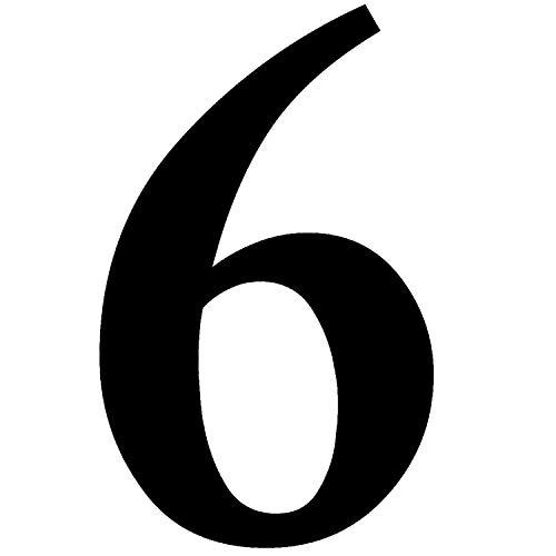 Zahlen-Aufkleber Nr. 6 in schwarz I Höhe 10 cm I selbstklebende Haus-Nummer, Ziffer zum Aufkleben für Außen, Briefkasten, Tür I wetterfest I kfz_471_6