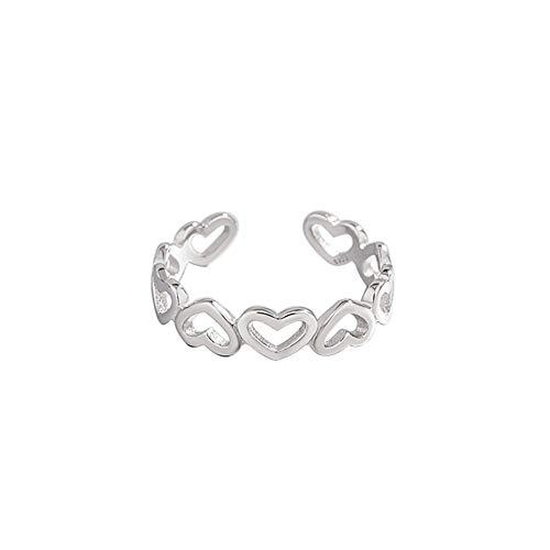 FJYOURIA Dunne Verstelbare Maat 925 Sterling Zilver Hart Vorm Ring Open Ring Bruiloft Belofte Eternity Ring voor Vrouwen Dames