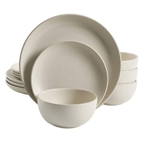 Gibson Home Rockaway Round Stoneware Dinnerware Set Service for 4 12pcs Cream