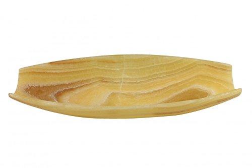 Centro de Mesa de Ónix Color Miel en Forma de Canoa 50 x 25 x 9 cm