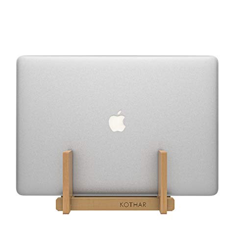 Soporte vertical de madera para ordenador portátil, soporte vertical para escritorio, soporte para portátil, bambú, base de escritorio para Apple MacBook, superficie, iPad, tabletas y más