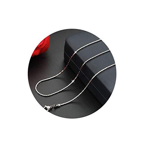 Aeici Collar de Hombre Acero Cadena Cardano Collares para Hombres Plata Largo 45Cm